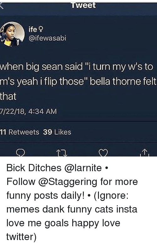 "funny cats: wee  ife?  @ifewasabi  when big sean said""i turn my w's to  m's yeah i flip those"" bella thorne felt  that  7/22/18, 4:34 AM  11 Retweets 39 Likes Bick Ditches @larnite • ➫➫➫ Follow @Staggering for more funny posts daily! • (Ignore: memes dank funny cats insta love me goals happy love twitter)"