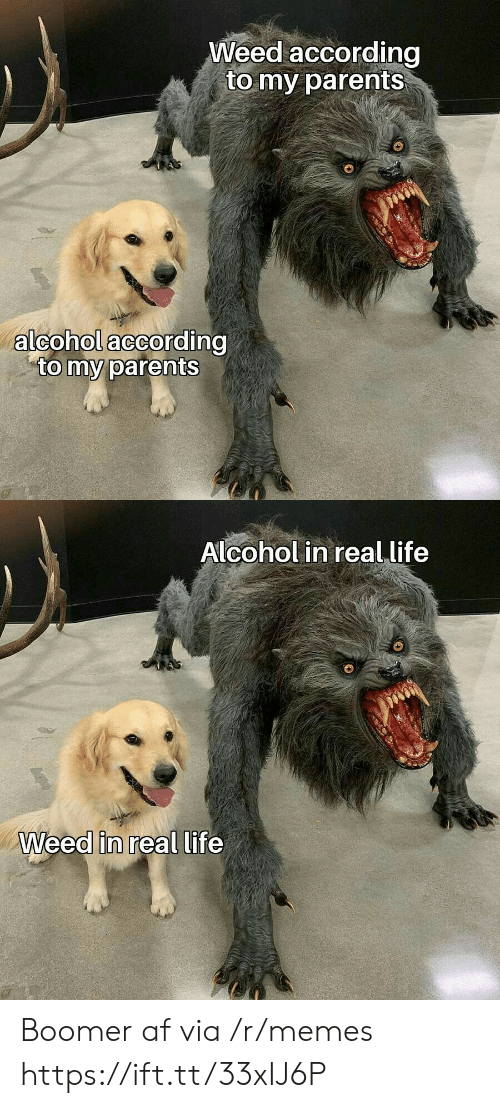 Af, Life, and Memes: Weed according  to my parents  alcohol according  to my parents  Alcohol in real life  Weed in real life Boomer af via /r/memes https://ift.tt/33xIJ6P