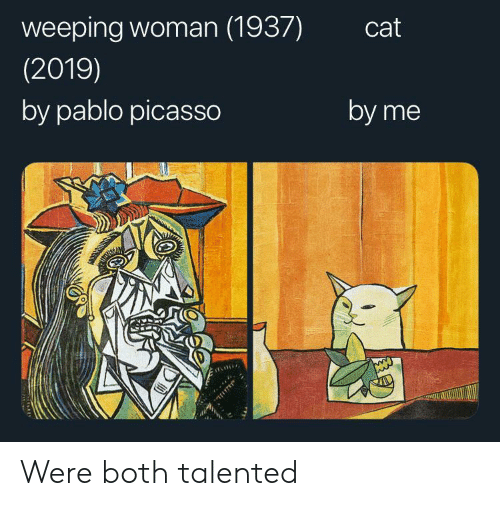 Pablo Picasso, Picasso, and Cat: weeping woman (1937)  cat  (2019)  by pablo picasso  by me Were both talented