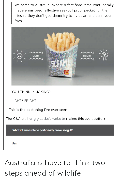 fast-food-restaurant: Welcome to Australia! Where a fast food restaurant literally  made a mirrored reflective sea-gull proof packet for their  fries so they don't god damn try to fly down and steal your  fries.  LIGHT  FRIGHT  SCR  YOU THINK IM JOKING?  LIGHT? FRIGHT  This is the best thing lI've ever seen  The Q&A on Hungry Jacks's website makes this even better:  What if I encounter a particularly brave seagull?  Run Australians have to think two steps ahead of wildlife