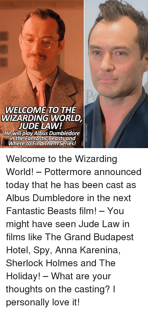 Anna, Dumbledore, and Love: WELCOME TO THE  WIZARDING WORLD  JUDE LAW!  He will play Albus Dumbledore  in the Fantastic Beastsand  Where to Find Them Series! Welcome to the Wizarding World! – Pottermore announced today that he has been cast as Albus Dumbledore in the next Fantastic Beasts film! – You might have seen Jude Law in films like The Grand Budapest Hotel, Spy, Anna Karenina, Sherlock Holmes and The Holiday! – What are your thoughts on the casting? I personally love it!
