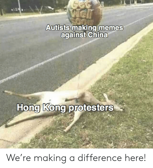 Autists: Well  Autists making memes  against China  Hong Kong protesters We're making a difference here!