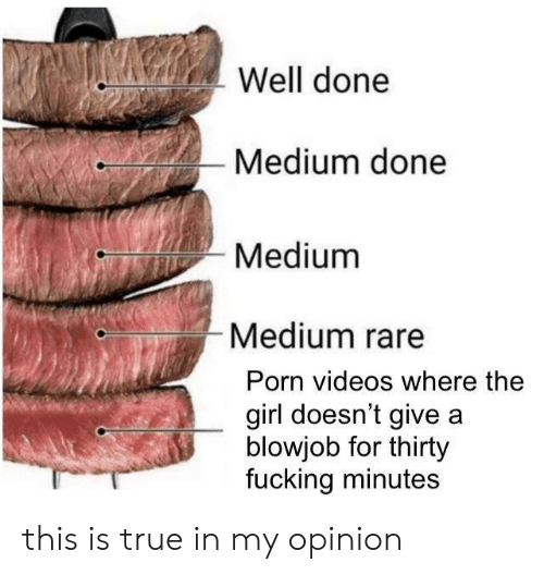 A Blowjob: Well done  Medium done  Medium  Medium rare  Porn videos where the  girl doesn't give a  blowjob for thirty  fucking minutes this is true in my opinion
