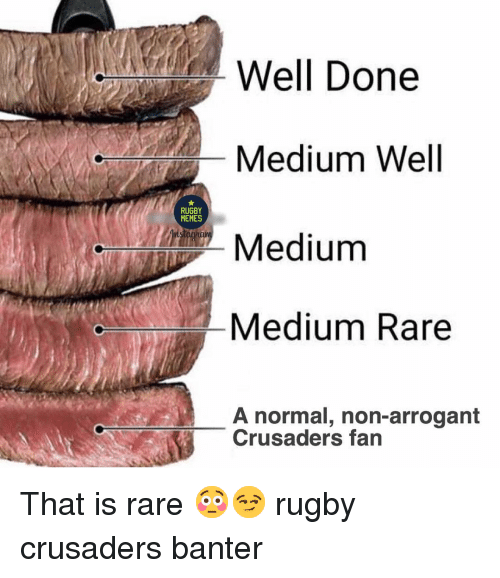 Memes, Arrogant, and Rugby: Well Done  Medium Well  Medium  Medium Rare  RUGBY  MEMES  A normal, non-arrogant  Crusaders fan That is rare 😳😏 rugby crusaders banter