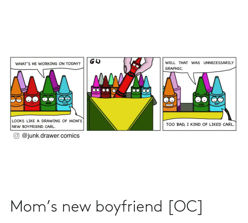Well That: WELL THAT WAS UNNECESSARILY  WHAT'S HE WORKING ON TODAY?  GRAPHIC.  LOOKS LIKE A DRAWING OF MOM'S  TOO BAD, I KIND OF LIKED CARL.  NEW BOYFRIEND CARL.  O @junk.drawer.comics Mom's new boyfriend [OC]