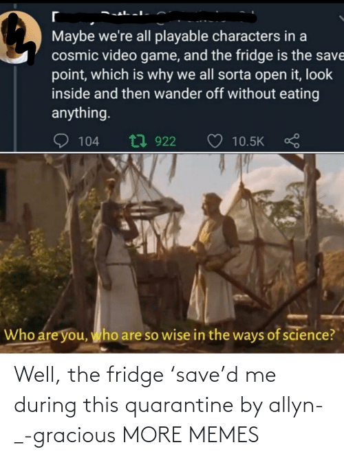 Save: Well, the fridge 'save'd me during this quarantine by allyn-_-gracious MORE MEMES