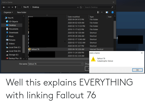 linking: Well this explains EVERYTHING with linking Fallout 76