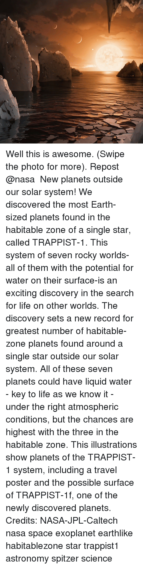 Excition: Well this is awesome. (Swipe the photo for more). Repost @nasa ・・・ New planets outside our solar system! We discovered the most Earth-sized planets found in the habitable zone of a single star, called TRAPPIST-1. This system of seven rocky worlds-all of them with the potential for water on their surface-is an exciting discovery in the search for life on other worlds. The discovery sets a new record for greatest number of habitable-zone planets found around a single star outside our solar system. All of these seven planets could have liquid water - key to life as we know it - under the right atmospheric conditions, but the chances are highest with the three in the habitable zone. This illustrations show planets of the TRAPPIST-1 system, including a travel poster and the possible surface of TRAPPIST-1f, one of the newly discovered planets. Credits: NASA-JPL-Caltech nasa space exoplanet earthlike habitablezone star trappist1 astronomy spitzer science