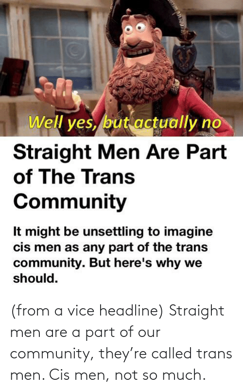Community, Vice, and Yes: Well yes, but actually no  Straight Men Are Part  of The Trans  Community  It might be unsettling to imagine  cis men as any part of the trans  community. But here's why we  should. (from a vice headline) Straight men are a part of our community, they're called trans men. Cis men, not so much.