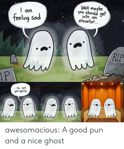 lift: Well  you shoule  get  am  into an  elevator...  feeling Sad  RIP  RIP  SOCIETY  IP  to lift  your spirits! awesomacious:  A good pun and a nice ghost
