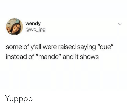 """Memes, 🤖, and Que: wendy  @wc jpg  some of y'all were raised saying """"que""""  instead of """"mande"""" and it shows Yupppp"""