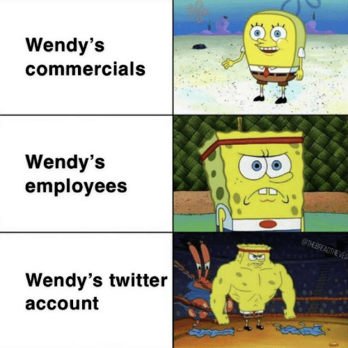 account: Wendy's  commercials  Wendy's  employees  @THEBREADTHEVES  Wendy's twitter  account