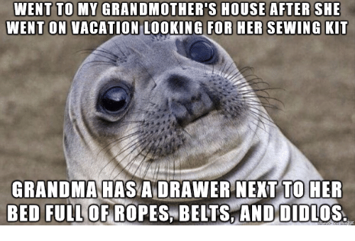 Grandma, House, and Vacation: WENT TO MY GRANDMOTHER'S HOUSE AFTER SHE  WENT ON VACATION LOOKING FOR HER SEWING KIT  GRANDMA HAS A DRAWER NEXT TO HER  BED FULL  OF ROPES, BELTS AND DIDLOS