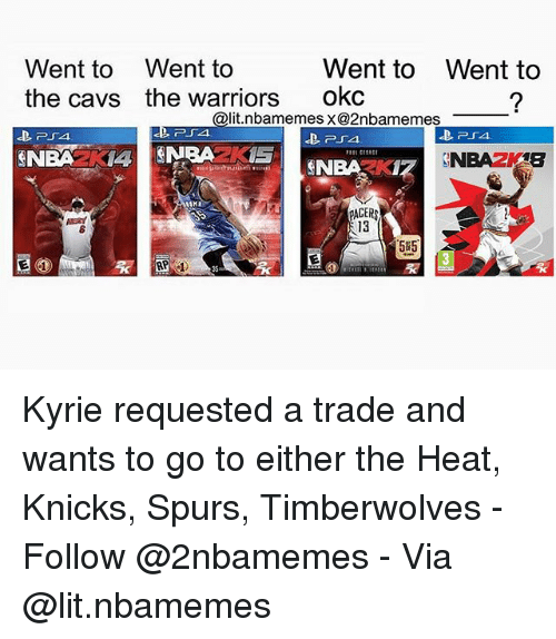 Cavs, New York Knicks, and Lit: Went to  the cavs  Went to  the warriors  Went to  okc  Went to  @lit.nbamemes x@2nbamemes  254  PACER  13  5#5.  35 Kyrie requested a trade and wants to go to either the Heat, Knicks, Spurs, Timberwolves - Follow @2nbamemes - Via @lit.nbamemes