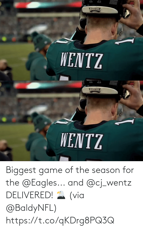 Biggest: WENTZ   WENTZ Biggest game of the season for the @Eagles...  and @cj_wentz DELIVERED! 🦅  (via @BaldyNFL) https://t.co/qKDrg8PQ3Q