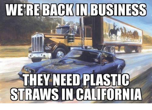 Memes, Business, and California: WE'RE BACKIN BUSINESS  THEY NEEDPLASTIC  STRAWS IN CALIFORNIA