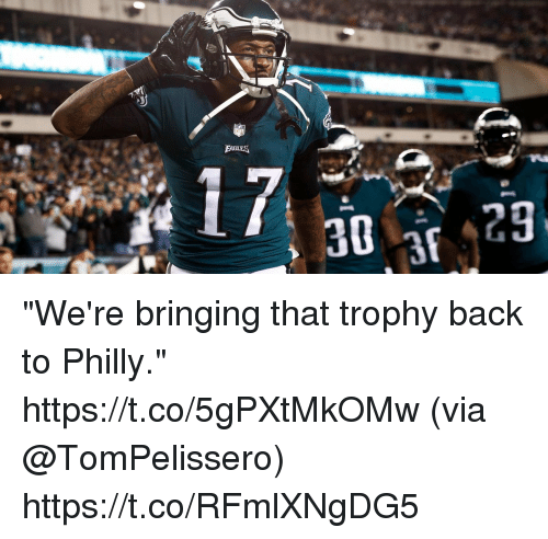 """Memes, Back, and 🤖: """"We're bringing that trophy back to Philly."""" https://t.co/5gPXtMkOMw (via @TomPelissero) https://t.co/RFmlXNgDG5"""