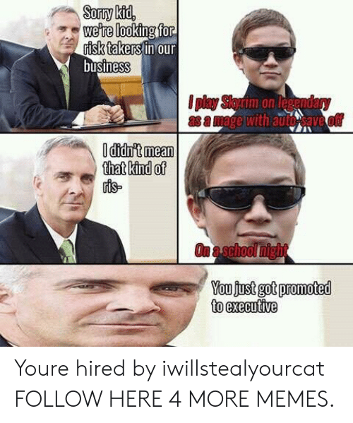 Dank, Memes, and Target: we're looking fo  risk takers in our  businesS  nm on legenda  that kind of  You fust got promoted  to executive Youre hired by iwillstealyourcat FOLLOW HERE 4 MORE MEMES.