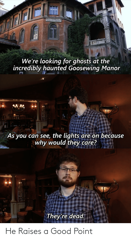haunted: We're looking for ghosts at the  incredibly haunted Goosewing Manor  As you can see, the lights are on because  why would they care?  They're dead. He Raises a Good Point