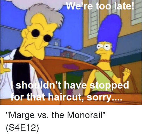 "Haircut, Memes, and Sorry: We're toolate  shd ldn't have stopped  dnt haye stopped  r that haircut, sorry ""Marge vs. the Monorail""  (S4E12)"