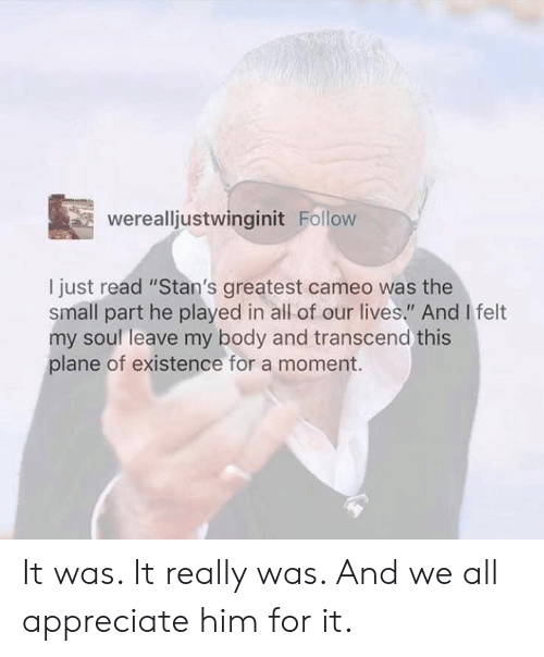 "Appreciate, Soul, and Him: werealljustwinginit Follow  I just read ""Stan's greatest cameo was the  small part he played in all of our lives."" And I felt  my soul leave my body and transcend this  plane of existence for a moment. It was. It really was. And we all appreciate him for it."