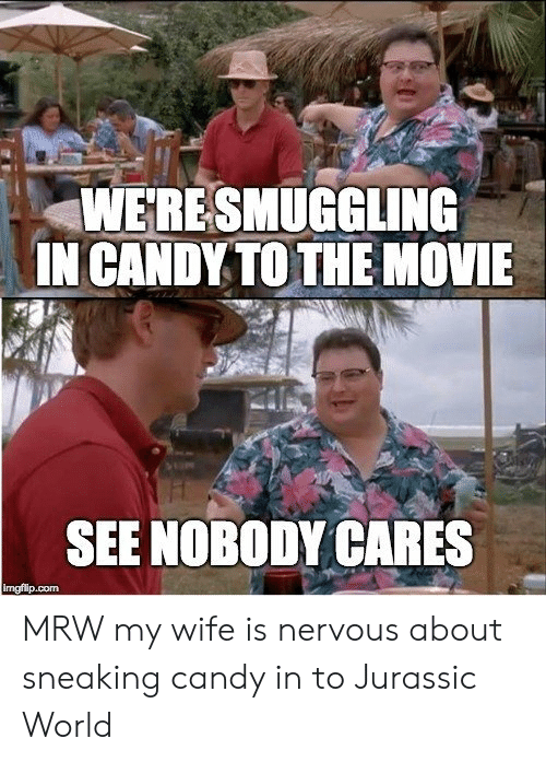 see nobody cares: WERESMUGGLING  IN CANDY TO THE NOVIE  SEE NOBODY CARES  imgfilip.com MRW my wife is nervous about sneaking candy in to Jurassic World