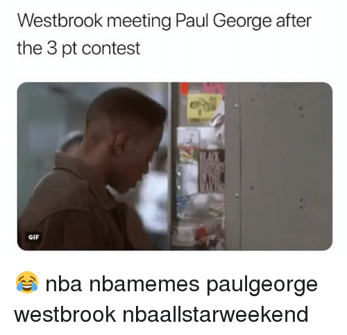 Basketball, Gif, and Nba: Westbrook meeting Paul George after  the 3 pt contest  GIF 😂 nba nbamemes paulgeorge westbrook nbaallstarweekend