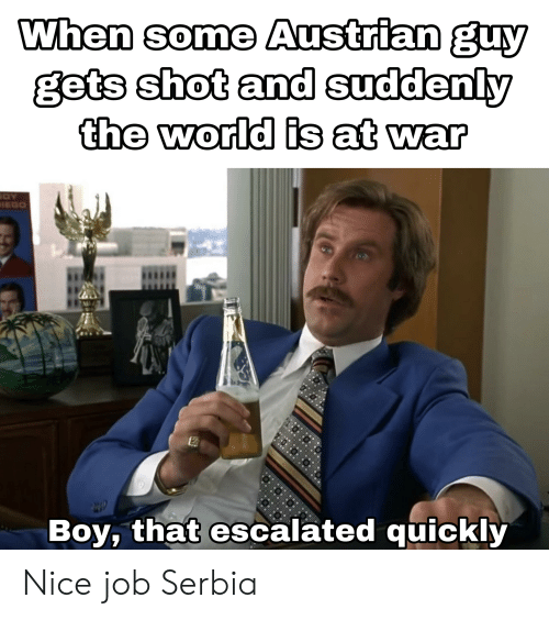 Reddit, World, and Austrian: Whan some Austrian guy  gets shot and suddenly  the world is at war  Boy, that escalated quickly Nice job Serbia