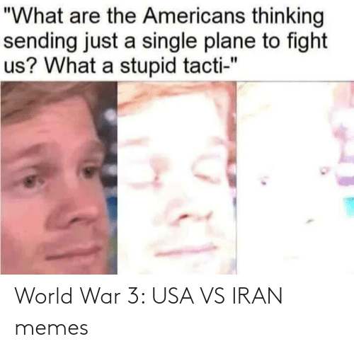 "plane: ""What are the Americans thinking  sending just a single plane to fight  us? What a stupid tacti-"" World War 3: USA VS IRAN memes"