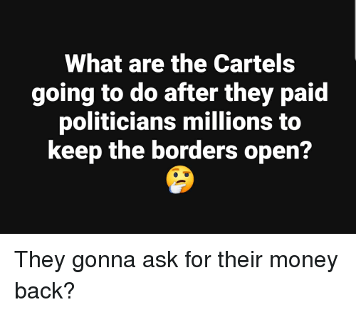 Money, Politicians, and Back: What are the Cartels  going to do after they paid  politicians millions to  keep the borders open?