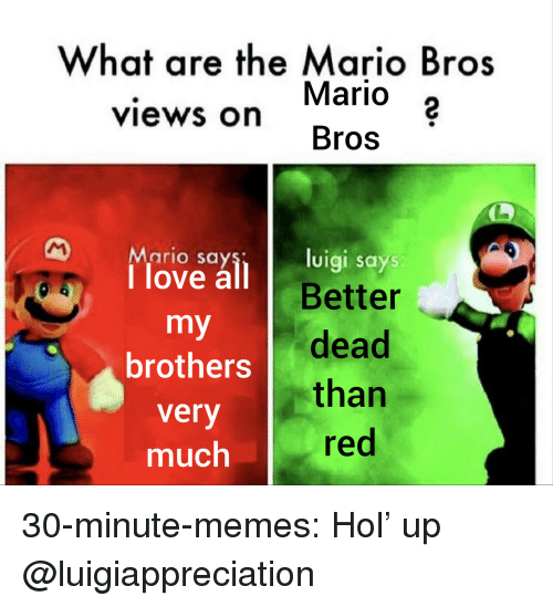 Hol Up: What are the Mario Bros  Mario 2  Bros  views on  Mario say  1 love all B  luigi says  Better  brothers dead  very  much  than  red 30-minute-memes:  Hol' up  @luigiappreciation