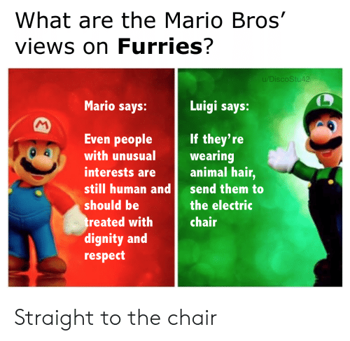 Respect, Mario, and Animal: What are the Mario Bros'  views on Furries?  u/DiscoStu42  Mario says:  Luigi says:  M  Even people  If they're  wearing  animal hair,  with unusual  interests are  still human and  send them to  should be  the electric  treated with  dignity and  respect  chair Straight to the chair