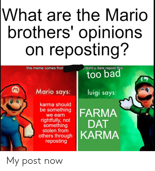 What Are The Mario Brothers Opinions On Reposting Dont U