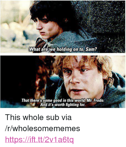 """frodo: What arewe holding on to, Sam?  That there'ssome good in this world Mr. Frodo  And it's worth fighting for. <p>This whole sub via /r/wholesomememes <a href=""""https://ift.tt/2v1a6tq"""">https://ift.tt/2v1a6tq</a></p>"""