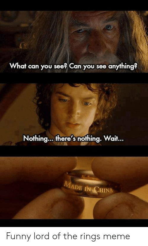 funny lotr: What can you see? Can you see anything?  Nothing... there's nothing. Wait..  aif...  ADE IN CHINA Funny lord of the rings meme