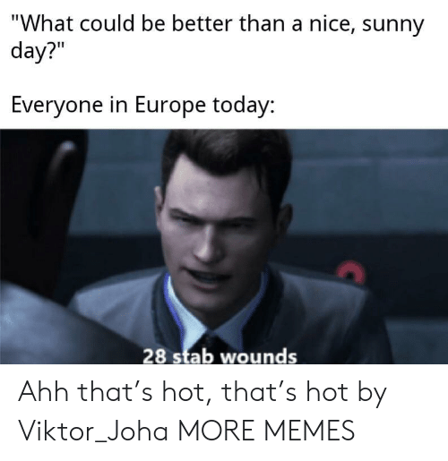 """sunny: """"What could be better than a nice, sunny  day?""""  Everyone in Europe today:  28 stab wounds Ahh that's hot, that's hot by Viktor_Joha MORE MEMES"""