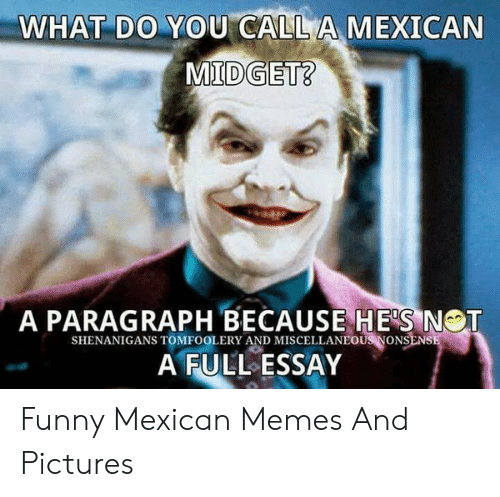 Offensive Jesus Memes: WHAT DO YOU CALLA MEXICAN  A PARAGRAPH BECAUSE HE'S NOT  SHENANIGANS TOMFOOLERY AND MISCELLANEOUS VONSENS  A FULL ESSAY Funny Mexican Memes And Pictures