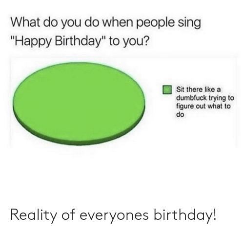 "Birthday, Happy Birthday, and Happy: What do you do when people sing  ""Happy Birthday"" to you?  Sit there like a  dumbfuck trying to  figure out what to  do Reality of everyones birthday!"