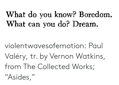 """collected: What do you know? Boredom.  What can you do? Dream. violentwavesofemotion:  Paul Valéry, tr. by Vernon Watkins, from The Collected Works; """"Asides,"""""""