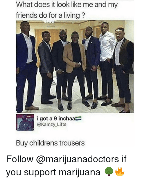 Friends, Memes, and Marijuana: What does it look like me and my  friends do for a living?  i got a 9 inchaa  @Kamzy Lifts  Buy childrens trousers Follow @marijuanadoctors if you support marijuana 🌳🔥