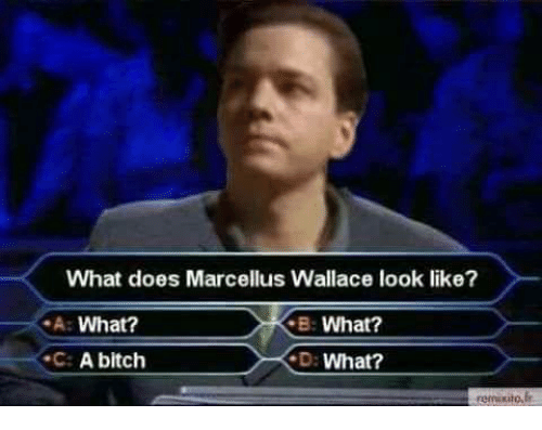 marcellus wallace: What does Marcellus Wallace look like?  A: What?  C: A bitch  B: What?  D: What?  remuxito, f