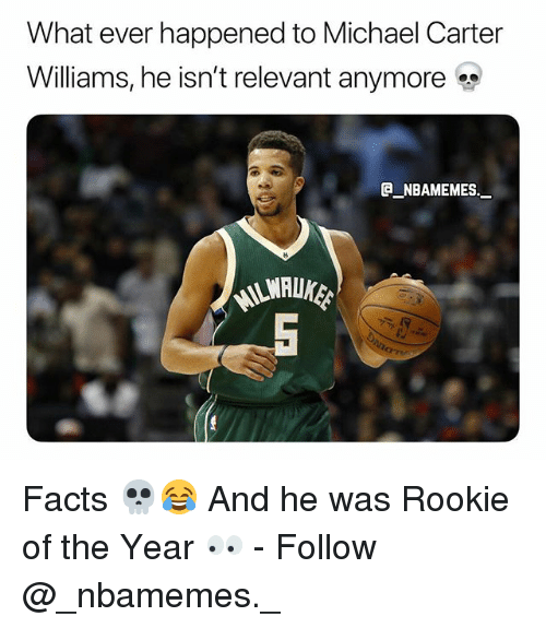 Facts, Memes, and Michael: What ever happened to Michael Carter  Williams, he isn't relevant anymore  @_ABAMEMEs.一 Facts 💀😂 And he was Rookie of the Year 👀 - Follow @_nbamemes._