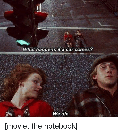 The Notebook: What happens if a car comes?  We die [movie: the notebook]