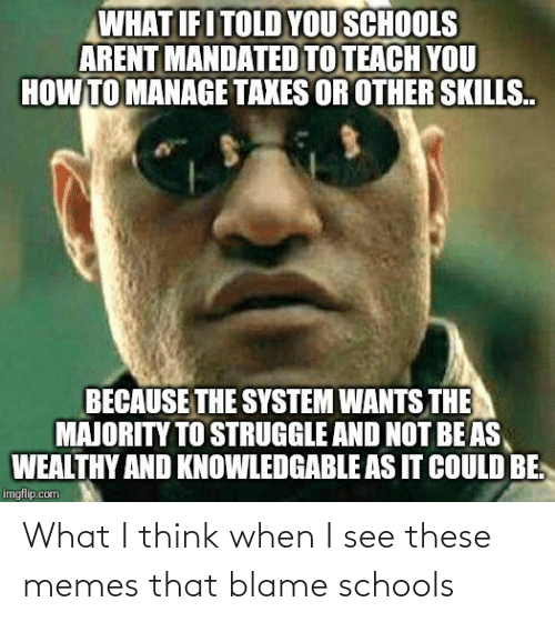 Memes That: What I think when I see these memes that blame schools