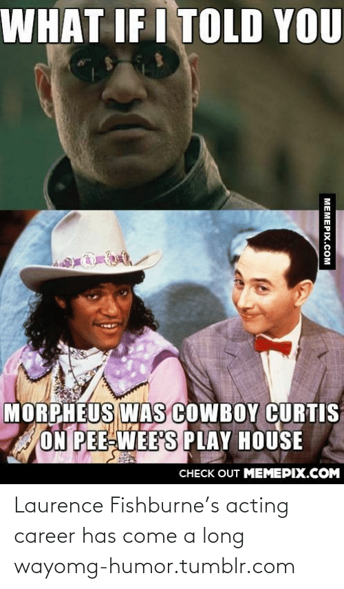 What If I Told: WHAT IF I TOLD YOU  MORPHEUS WAs COWBOY CURTIS  ON PEE-WEE'S PLAY HOUSE  CHECK OUT MEMEPIX.COM  MEMEPIX.COM Laurence Fishburne's acting career has come a long wayomg-humor.tumblr.com