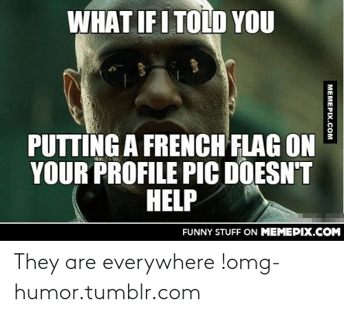 What If I Told: WHAT IF I TOLD YOU  PUTTING A FRENCH FLAG ON  YOUR PROFILE PIC DOESN'T  HELP  FUNNY STUFF ON MEMEPIX.COM  MEMEPIX.COM They are everywhere !omg-humor.tumblr.com