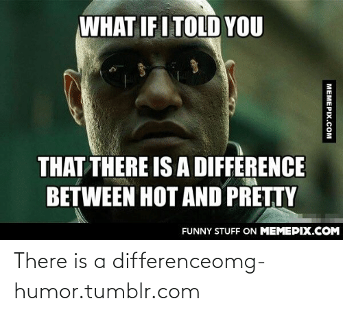 What If I Told: WHAT IF I TOLD YOU  THAT THERE IS A DIFFERENCE  BETWEEN HOT AND PRETTY  FUNNY STUFF ON MEMEPIX.COM  MEMEPIX.COM There is a differenceomg-humor.tumblr.com