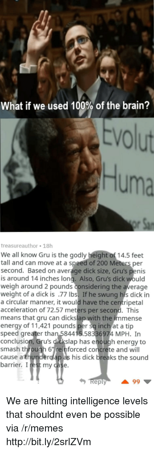 Godly: What if we used 100% of the brain?  VO  Huma  treasureauthor 18h  We all know Gru is the godly height of 14.5 feet  tall and can move at a speed of 200 Meters per  second. Based on average dick size, Gru's penis  is around 14 inches long. Also, Gru's dick would  weigh around 2 pounds considering the average  weight of a dick is .77 Ibs. If he swung his dick in  a circular manner, it would have the centripetal  acceleration of 72.57 meters per second. This  means that gru can dickslap with the immense  energy of 11,421 pounds per sq inch at a tip  speed greater than 584415.58336974 MPH. In  conclusion, Gru's dickslap has enough energy to  smash through 6einforced concrete and will  cause athunderdlap as his dick breaks the sound  barrier. I rest my case  eply We are hitting intelligence levels that shouldnt even be possible via /r/memes http://bit.ly/2srlZVm