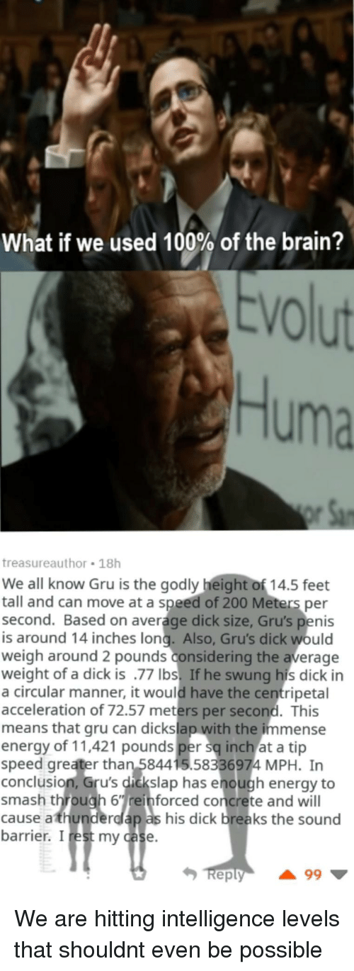 Godly: What if we used 100% of the brain?  VO  Huma  treasureauthor 18h  We all know Gru is the godly height of 14.5 feet  tall and can move at a speed of 200 Meters per  second. Based on average dick size, Gru's penis  is around 14 inches long. Also, Gru's dick would  weigh around 2 pounds considering the average  weight of a dick is .77 Ibs. If he swung his dick in  a circular manner, it would have the centripetal  acceleration of 72.57 meters per second. This  means that gru can dickslap with the immense  energy of 11,421 pounds per sq inch at a tip  speed greater than 584415.58336974 MPH. In  conclusion, Gru's dickslap has enough energy to  smash through 6einforced concrete and will  cause athunderdlap as his dick breaks the sound  barrier. I rest my case  eply We are hitting intelligence levels that shouldnt even be possible