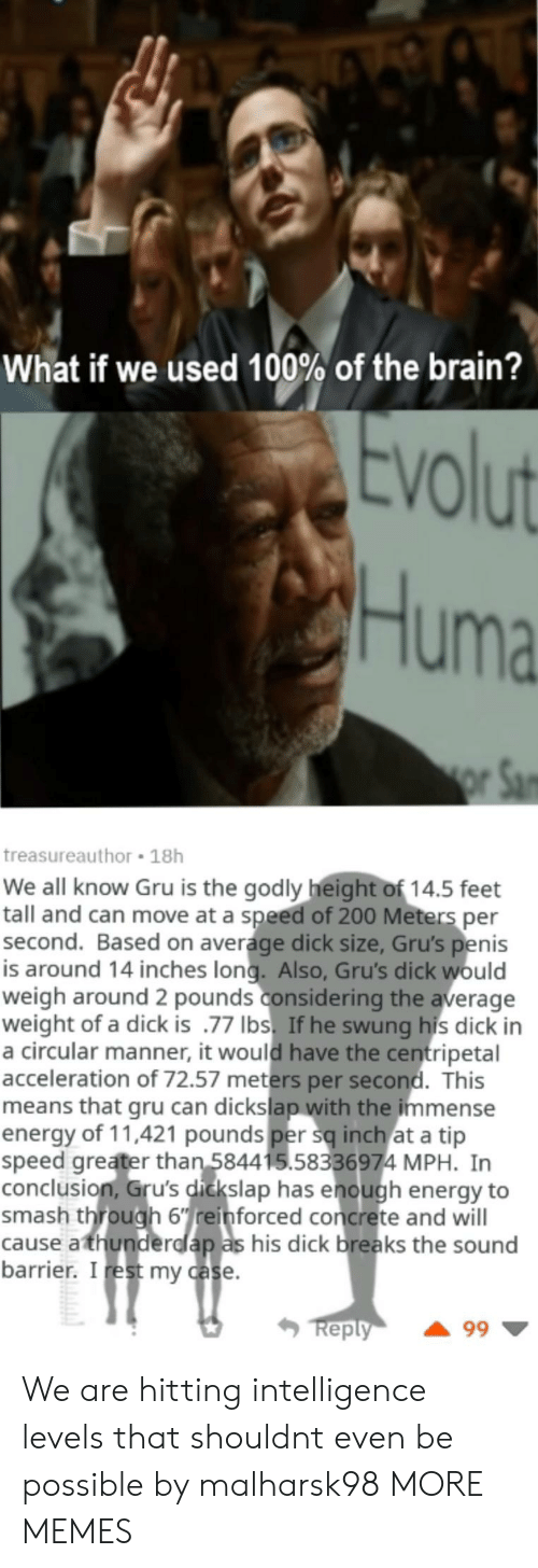 Godly: What if we used 100% of the brain?  VO  Huma  treasureauthor 18h  We all know Gru is the godly height of 14.5 feet  tall and can move at a speed of 200 Meters per  second. Based on average dick size, Gru's penis  is around 14 inches long. Also, Gru's dick would  weigh around 2 pounds considering the average  weight of a dick is .77 Ibs. If he swung his dick in  a circular manner, it would have the centripetal  acceleration of 72.57 meters per second. This  means that gru can dickslap with the immense  energy of 11,421 pounds per sq inch at a tip  speed greater than 584415.58336974 MPH. In  conclusion, Gru's dickslap has enough energy to  smash through 6einforced concrete and will  cause athunderdlap as his dick breaks the sound  barrier. I rest my case  eply We are hitting intelligence levels that shouldnt even be possible by malharsk98 MORE MEMES